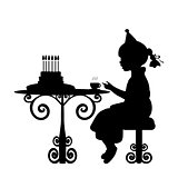 Silhouette girl drink tea with cake birthday