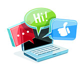 Icon for online web chat at laptop