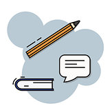 Note book, message and pen filled outline icon, line vector sign. Book with pencil symbol, logo illustration.