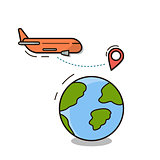 Travel Icon Isolated Plane Fly Over World Globe With Map Pointers Vector Illustration