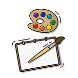 Set of the young artist paper palette brushes