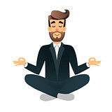 Cartoon flat happy office manager sitting and meditating. Illustration of handsome businessman relaxed calm in lotus pose. Man Yoga - relaxation in the workplace. Relax after a hard work concept