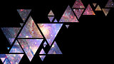 Abstract galaxy geometric background with triangles