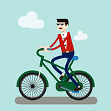 business man on bike go to work in city.energy saving for world.people business