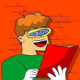 Boy with weird, futuristic glass reading a book.
