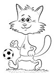 Contour Cat with Soccer Ball