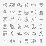 Pet Vet Line Icons Set