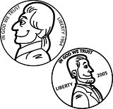 Cartoon Nickel and Penny Coins