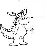 Cartoon Dinosaur Wearing Rabbit Ears and Holding a Sign
