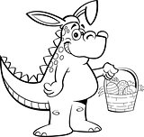 Cartoon Dinosaur Wearing Rabbit Ears and Holding an Easter Basket