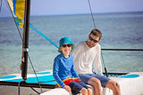 family at catamaran