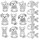 Collection of cartoon cats, dogs and fishe