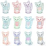 Set of amusing cartoon cats