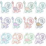 Set of amusing cartoon lions