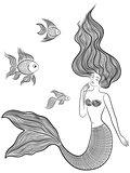 Wonder Mermaid with three fishes
