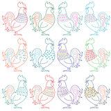 Set of amusing cartoon roosters