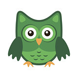 Owl stylized icon green colors