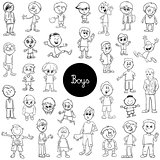cartoon kid boys characters set color book