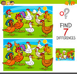 find differences game with chickens animal characters
