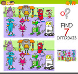 find differences game with robots fantasy characters