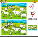 find differences game with goats animal characters