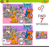 find differences game with cats animal characters
