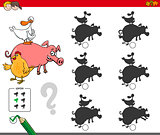 shadows activity game with farm animals