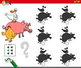 shadows activity game with farm animals
