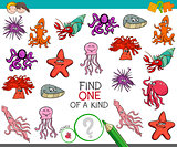 find one of a kind game with sea life animals
