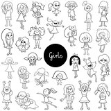 cartoon kid girls characters set color book