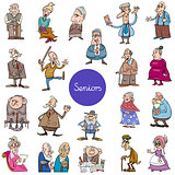 cartoon senior people characters big set