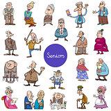 cartoon senior people characters big set