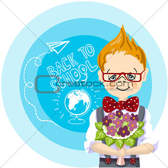 smile boy red glasses with bouquet flowers stand near blue background, with letters and paintings, back to school, white chalk, drawing airplane and globe with chalk on a blackboard