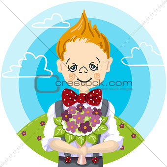 1st september day, school education, color draw of smile cute boy go to first time to school, bouquet flowers to teacher, mam, girl, blue sky with white cloud background green grass with flowers