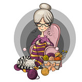 woman Granny sits in a Chair and knits knitting needles striped, cat sleeps on her knitting around the scattered balls, cartoon cute smiling character