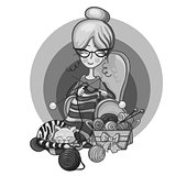 woman grandma sits in a Chair and knitting needles striped, cat sleep on her knitting around the scattered balls, cartoon cute smiling character