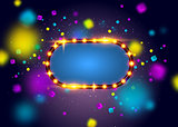 Glowing lights retro frame for advertising design. Special light effects. Colorful stage lights background. Vector Background show. Studio backdrop with confetti. Illuminated round realistic banner.