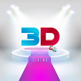 Words 3D movies and 3D glasses on the podium with a red carpet. New banner to register your business
