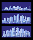 Vector illustration with a city in paper material style