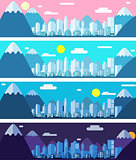 Vector banners of a city landscape in paper material style