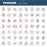 Big travel, tourism and weather linear icons
