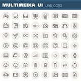 Big multimedia linear icons collection