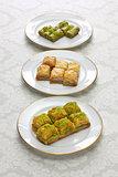 turkish traditional desserts, baklava & tea