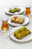 turkish traditional desserts, baklava & tea