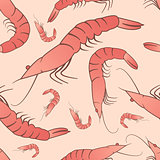 Shrimp seamless pattern, vector ornament background