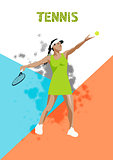 Tennis vector poster. Sports girl plaing