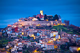 Town of Motovun on Istrian hill dawn view