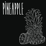 Chalkboard ripe ananas fruit