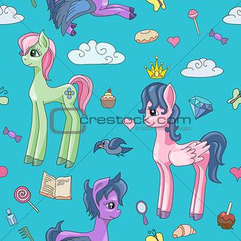 Cute unicorns and magic stuff. Seamless pattern
