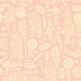Doodle hand drawn town seamless pattern. Pastel abstract wallpaper. Vector illustration for your cute design.